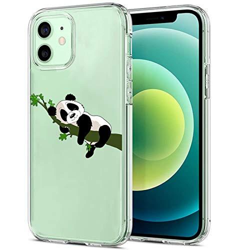 Funda para iPhone 12 5G Case 2020, diseño de panda transparente, de silicona TPU suave, amortiguación, diseño resistente a los arañazos, funda transparente para iPhone 12 8 L