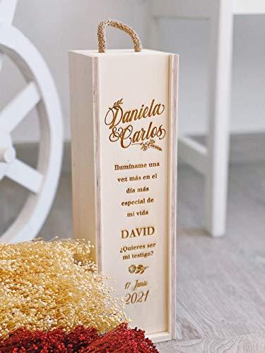 MONAMÍ - Caja de Vino Personalizada en Madera de Pino, grabada con dedicatoria. Escoge Entre Varios diseños. Tapa Deslizante y asa Superior