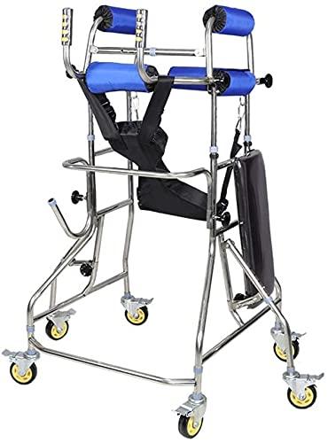 FLJMR Caminante de pie, Bastidor para Caminar hemipléjico por accidente cerebrovascular, Equipo de rehabilitación para Adultos de Seis Ruedas (Color: Azul)