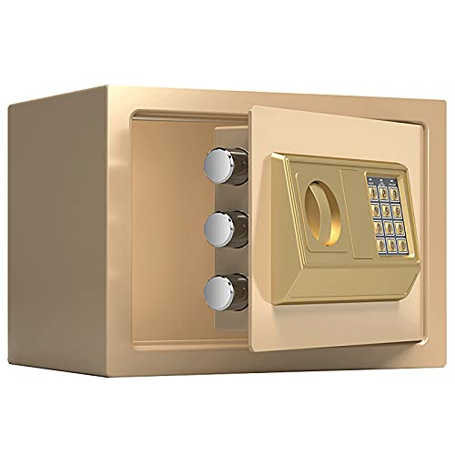 VIY Caja Fuerte Electrónica para Montaje en Pared o Suelo, Caja Fuerte Pequeña para Oficina o Uso doméstico Caja de Seguridad 20 x 31 x 20 cm,Oro