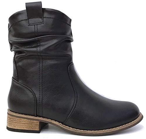 King of Shoes Damen Stiefeletten Cowboy Boots mit Blockabsatz Western (37, Schwarz)