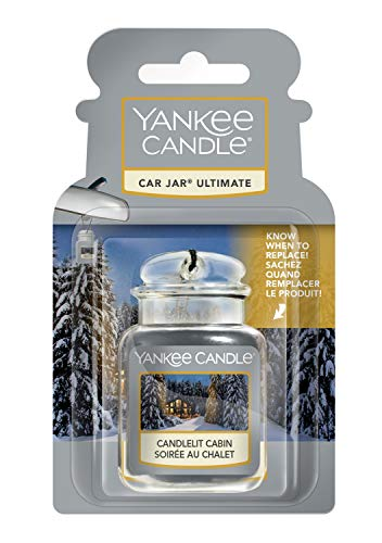 YANKEE CANDLE Car Jar Ultimate profumatore per Auto, in Baita a lume di Candela, Collezione Natale in Montagna, Candlelit Cabin, Small