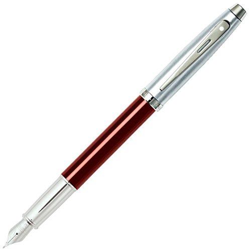 Sheaffer - Pluma estilográfica (tapa cromada pulida, cuerpo rojo, con detalles...