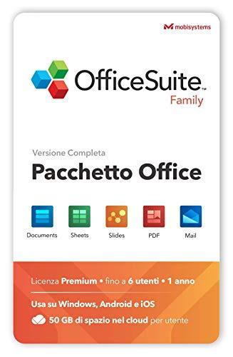 OfficeSuite Family - Docs, Sheets, Slides, PDF, Mail & Calendar - 1 anno di licenza per 1 PC Windows e 2 Dispositivi Mobili 6 Utenti