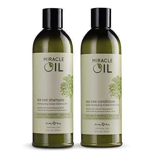 Earthly Body Miracle Oil Tea Tree Shampoo & Conditioner Set, 16 oz. - Tea Tree, Hemp Seed, Argan & Eucalyptus Oils - 100% Vegan, Cruelty-Free