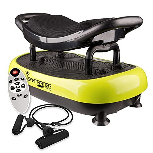 Piattaforma vibrante con sedile, Wonder Fit, migliora la circolazione sanguina, combatte la cellulite e la ritenzione di liquidi, fornisce una consumazione calorica, include telecomando e tenditori