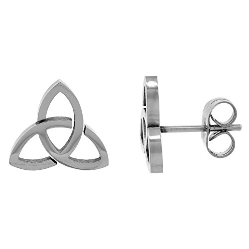 Small Stainless Steel Celtic Trinity Stud Earrings Triquetra 3/8 inch 10 mm