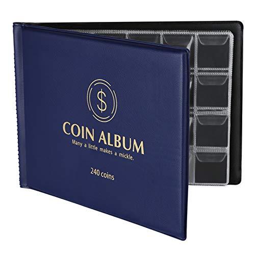MUROAD 240 Album della Collezione di Monete,Album Libro per Collezionisti,Raccolta Album Libro,Porta Monete (Blu)