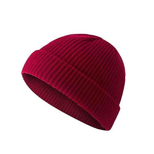WFZ17 Unisex Beanie-Mütze Outdoor einfarbig gestrickt warme randlose Manschette Skullcap Matrosenmütze