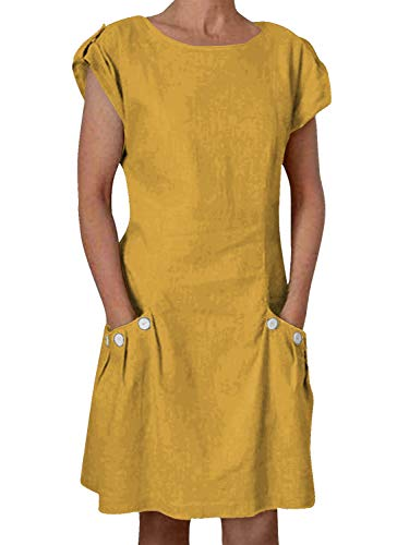 Damen Rundhals Sommerkleid Leinen Kleider Strandkleider A-Linien Kleid Knielang Kleid(A-Gelb,XL)