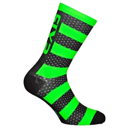 SIXS Luxury Merino Socken, Schwarz/Neongrün, Größe 39