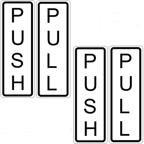 """Outdoor/Indoor (2 Pack) Push & (2 Pack) Pull Vertical Door Sign - 5"""" x 1.75"""" Vinyl Label Sticker Decal for Business Store Shop - Back Adhesive Vinyl (Black Letters + White Background)"""