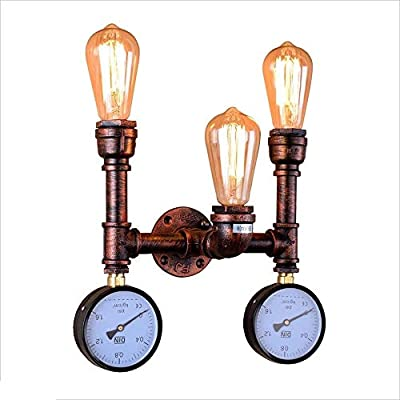 KMYX Industrial Wall Water Pipe Lamp 2-Lights Retro Steampunk Vintage Sconce Wall Art Decoration Kitchen Bar Restaurant Living Room Edison E27 Rustic Waterpipe Wall Light Lamp