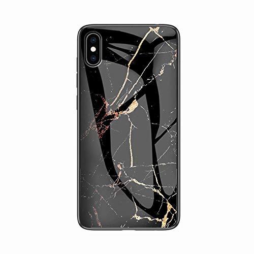 Miagon Glas Handyhülle für iPhone XS Max,Marmor Serie 9H Panzerglas Rückseite mit Weicher Silikon Rahmen Kratzresistent Bumper Hülle für iPhone XS Max,Gold Schwarz