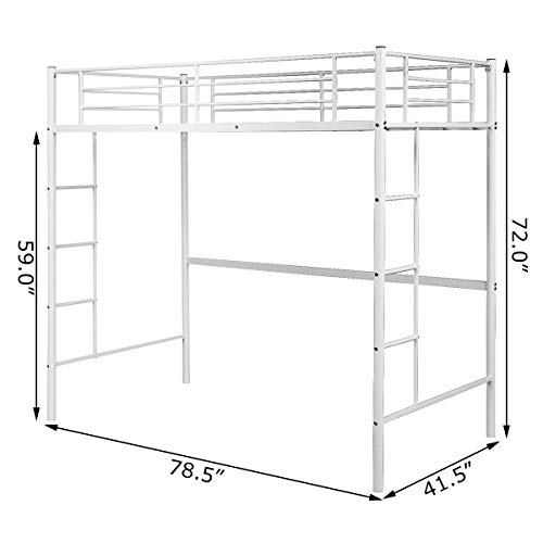 Costzon Twin Metal Loft Bed, Heavy Duty Bunk Bed Frame w/Wide Two-Side Ladders and High Safety Guard Rails, Multifunctional Modern Loft Bed for Bedroom Dorm Space Saving Design (White)