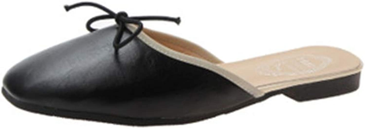 FLourishing Womens Pointed Toe Flat Comfort Slip On Bow Tie Cute Leather Mule shoes