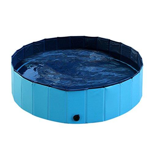 Boodtag Piscine Pliable Baignoir Chien Chat Douche Bassin Jeu Bain Nager Pataugeoire pour Animaux de Campagne Extérieur Bleu S