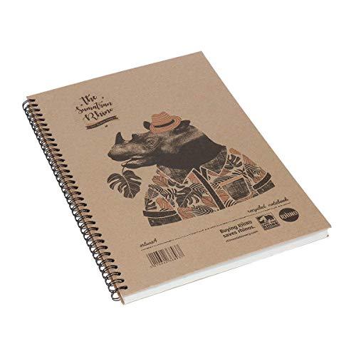 Rhino - Taccuino con copertina rigida in carta riciclata, formato A4,'Save the rhino'