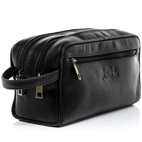 SID & VAIN® borsa toiletry vera pelle GATWICK grande borsetta necessaire Toilette pochette beauty case da Viaggio uomo donna nero