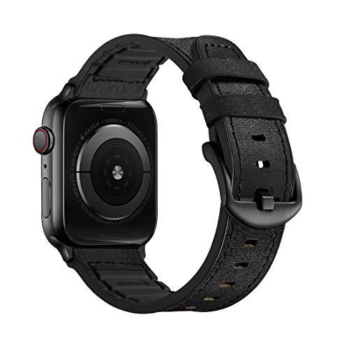 Mifa [Aggiornato] Compatibile con Apple Watch Band 44mm 42mm Series 6 SE 5 4 3 Robusto Hybrid Sport Pelle Vintage Dressy Band Dark Sostituzione Cinghie Sweatproof iwatch Nike Space Black