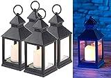 Lunartec Grablicht: 4er Pack Laterne mit flackernder LED-Kerze und Timer, Batteriebetrieb (Laterne mit LEDkerzen)