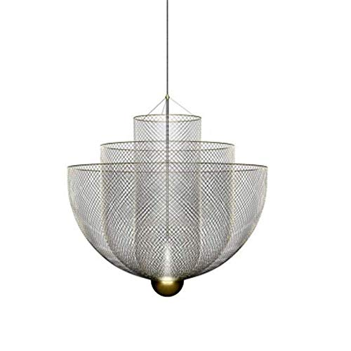 OWEM Moderne Gitter-Pendelleuchte Round-Licht-Schatten-Pendelleuchte Esszimmer Schlafzimmer Lampe Personality Kreative Hängeleuchte Verchromung L 0-100CM E27 D35CM × H49CM