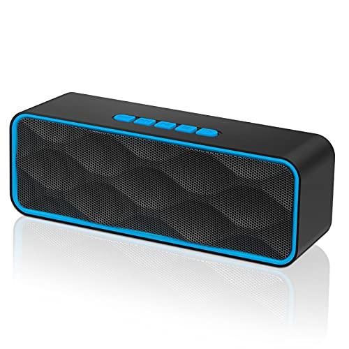 Altavoces Bluetooth, Altavoz portátil Bluetooth 5.0 con sonido estéreo y bajos de alta fidelidad, Reproducción de 12 horas, para tarjeta TF y AUX, Radio y micrófono integrados, Altavoz portatiles