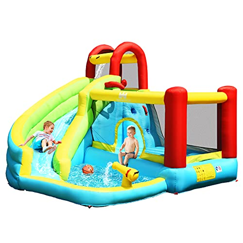COSTWAY Inflatable Bouncy Castle, Jumper House Water Park with Slide, Water Cannon, Basketball Hoop and Splashing Pool, Outdoor Blow Up Activity Center for Kids