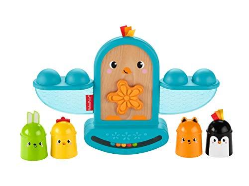 Fisher-Price Mon oiseau à bascule, jouet bébé à empiler avec textures et billes hochet, 6 mois et plus, GJW26