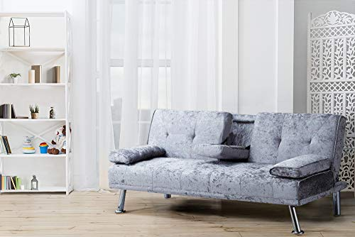 Comfy Living Italian Style Luxury Sofa Bed with Drink Cup Holder Table Crush Velvet 4 Colours (Steel)