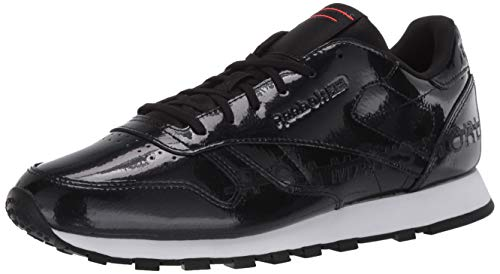 Reebok Women's Classic Leather Sneaker, Black/neon red/Black, 7.5 M US