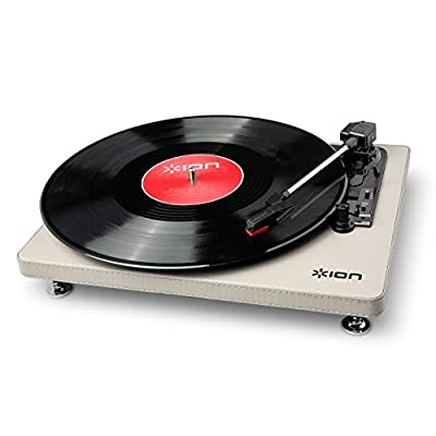 ION Audio Compact LP Compact Three Speed Vinyl Turntable With USB Digital Conversion, Cream Leatherette Finish