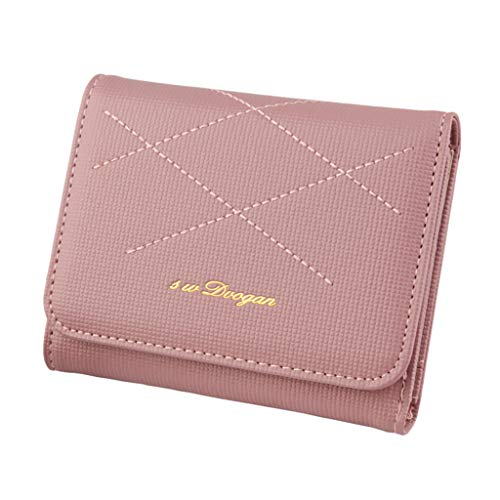 Hzing Women's Wallet Fashion Short Solid Color Stone Multi-Card Gold Standard Handbag
