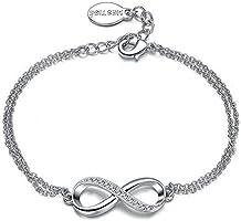 Mestige Women's Rhodium Plated Infinitely Yours Chain Bracelet (MSBR3207)