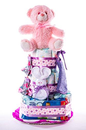 Tarta de pañales para bebé recién nacido. Un regalo original, incluyendo 30 pañales de la marca DODOT más peluche más calcetín más toallas DODOT más toalla facial, ofrecido por Flores AVRIL