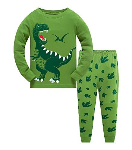 Schlafanzug Jungen 122 Pyjama Kinder Junge Baumwolle Winter Nachtwäsche Langarm Dinosaurier T-Rex(Dino-6225 6T)