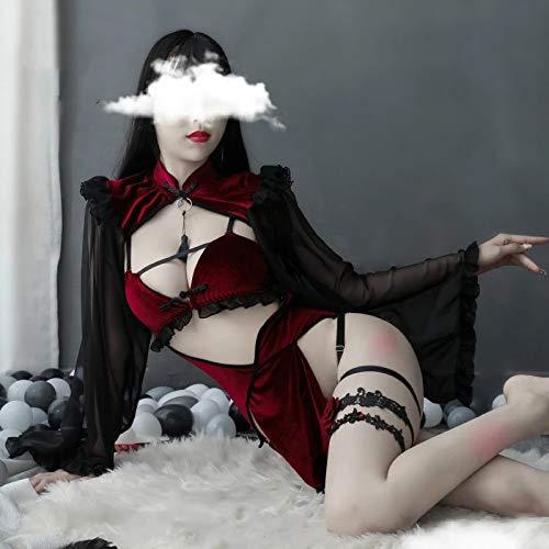 YINSHENG Mujer Sexy Encaje Rejilla Flexible Teddy Lencería Malla Body Mallas de Mujer Demonio de Mujer Disfraz de Cosplay Sexo Lencería Sexy Disfraz erótico Perspectiva Love Live Cosplay Anime D