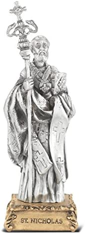 Catholic Gifts Saint Nicholas 4.5 Inch Popular Limited time sale products Pewter Statue