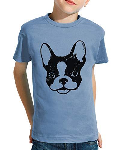 latostadora - Camiseta Bulldog Frances para Nino y Nina Celeste XS