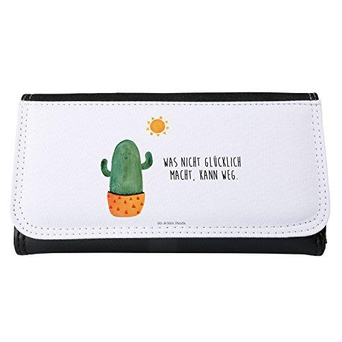 Mr. & Mrs. Panda Damen, Groß, Damen Portemonnaie Kaktus Sonnenanbeter mit Spruch - Farbe Weiß
