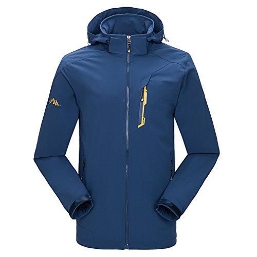emansmoer Homme Coupe-Vent Résistant à l'eau Respirant Quick Dry Manteau Outdoor Sport Veste de Camping Randonnée (Large, Bleu foncé)