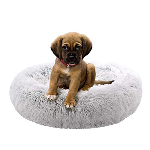 FuzzBall Fluffy Luxe Pet Bed, Calming Donut Cuddler – Machine Washable, Waterproof Base, Anti-Slip (for Puppies and Kittens up to 15lbs)