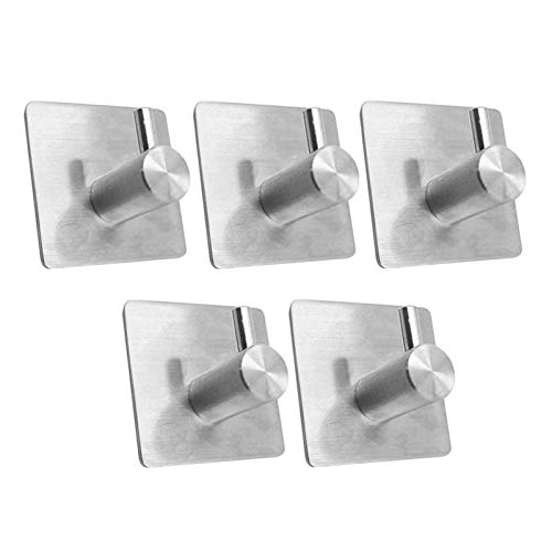 LNSTORE 10 Pcs Of 4 Stainless Steel Self-adhesive Hooks, Wall Door Hooks, Bathrobes, Rust-proof Towel Rack, Drying Rack Fashionable and durable (Color : 5pcs)