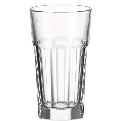 Leonardo Rock Trink-Gläser, 6er Set, spülmaschinenfeste Longdrink-Gläser, Trink-Becher aus Glas im klassischen Stil, Getränke-Set, 340 ml, 013381