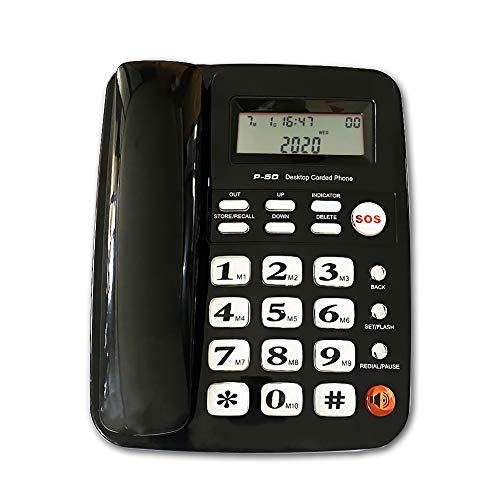 Corded Phone with Speakerphone, HePesTer P-50 Home Landline Phone with Caller ID Large Buttons Phone for Low Vision Amplified Phone for Hearing Impaired Aid Elderly Phone for Seniors(Black)