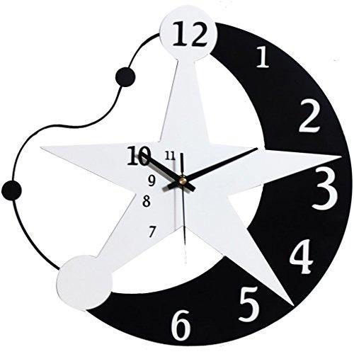 Li Ye Feng Shop Schwarz und weiß hölzern Wanduhr Uhren Star Mond Modern Geeignet für Wohnzimmer & Schlafzimmer & Heim & Küche & Kinder Stumm still Groß (Size : 33cm(13inch))