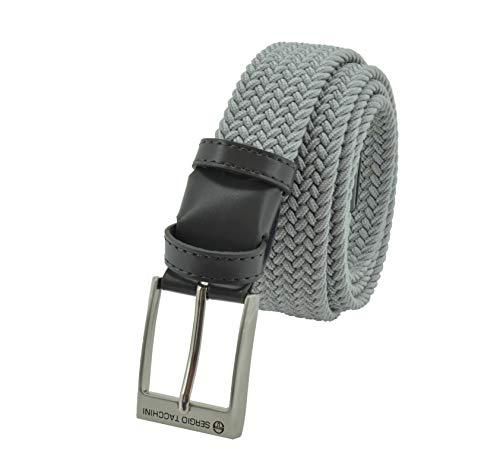 Sergio Tacchini Cinturón trenzado, de Hombre y Mujer, tejido elástico y cuero genuino, caja de regalo Grigio Chiaro 115