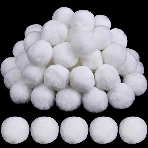 30 Pieces Acrylic Pom Poms Large White Pompoms Halloween Costume Pom Balls Fluffy Pompom Balls Fuzzy White Pom Poms Balls for DIY Crafts Halloween Costume Supplies Party Decorations, 2 Inch