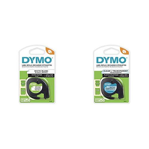 "DYMO LetraTag Labeling Tape, Black Print on White Paper, 1/2"" W x 13' L, 1 Cassette & DYM16952 Authentic LetraTag Labeling Tape, Black Print on Clear pastic Tape, 1/2'' W x 13' L, 1 roll (16952)"