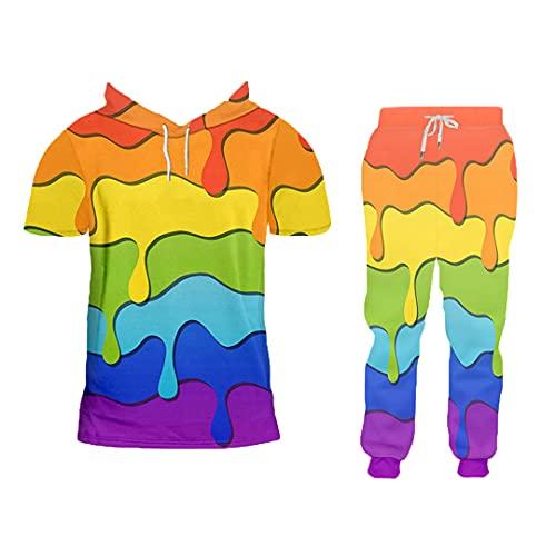 Otoño Invierno 2 Piezas Traje Impresión 3D Color Splash Paint Harajuku Sudadera con Capucha y Pantalones de chándal HTPAW0326 L